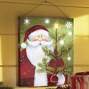 lighted santa wall canvas