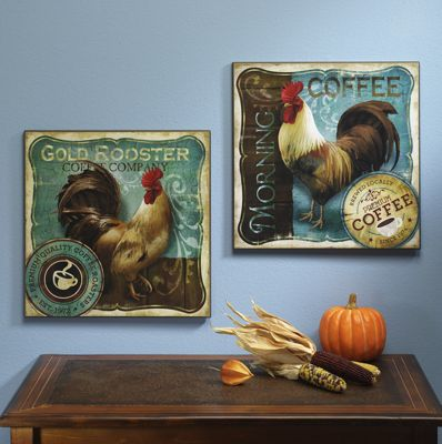 Set of 2 Rooster Plaques