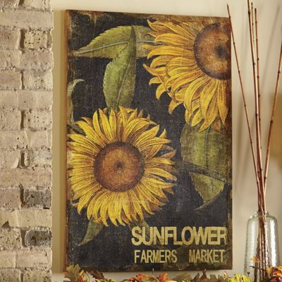Sunflower Print On Burlap & Sunflower Print On Burlap from Through the Country Door | NW43858 Pezcame.Com