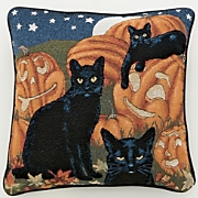 Black Cats and Pumpkins Pillow