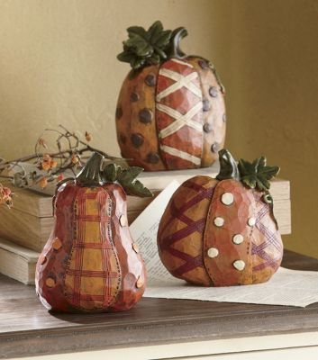 Set of 3 Patchwork Pumpkins