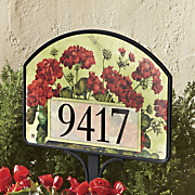 geranium basket yard sign