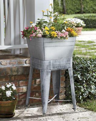 Washtub Planter & Stand