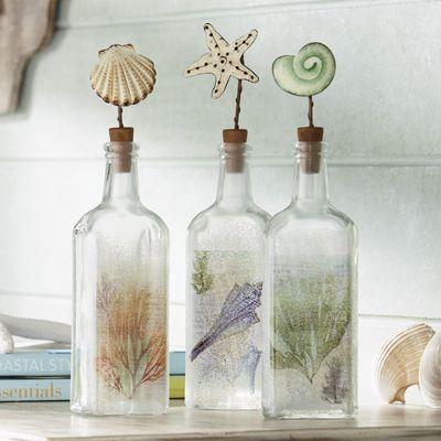 Set of 3 Coastal Bottles