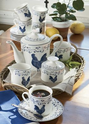 Blue Toile Rooster 17-Piece Coffee Set