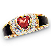 14KSs Garnet HeartOnyx Ring