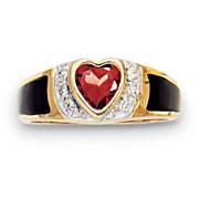 14KSs Garnet HeartOnyx Ring