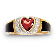 14K Gold over Sterling Silver Garnet Heart Onyx Ring