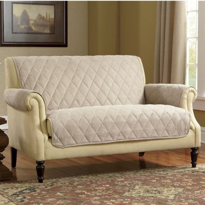 Diamond-Quilted, Skid-resistant Faux Suede Furniture Protectors