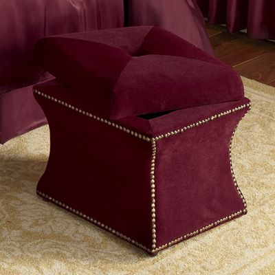 Nailhead Ottoman Storage Stool