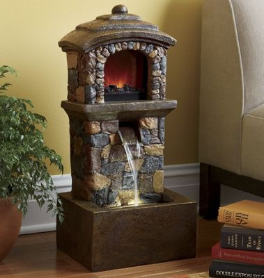Faux Slate Electric Fireplace Fountain