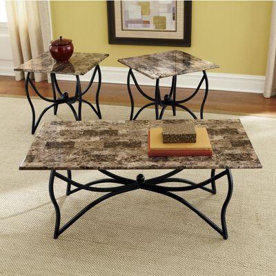 3-Piece Faux Marble-Top Table Set