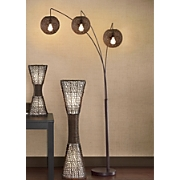 3-Arm Wicker Arc Lamp