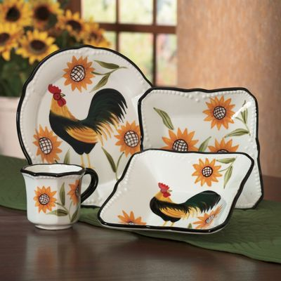 16-Piece Hand-Painted Rooster Sunflower Dinnerware Set