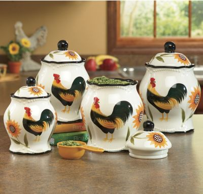 Set of 4 Hand-Painted Rooster Sunflower Canisters
