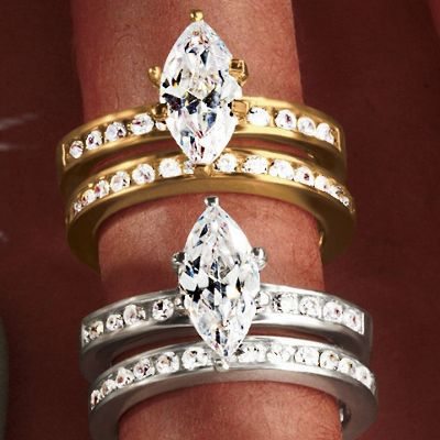 Marquise Round Bridal Set