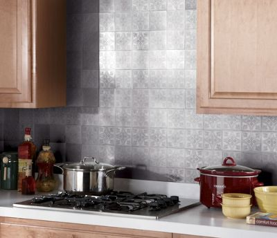 Self-Stick 'Tin' Backsplash Tiles