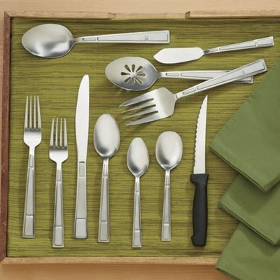 53-Piece Manhattan Frost Flatware Set