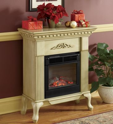 Electric Fireplace, Ivory Queen Anne