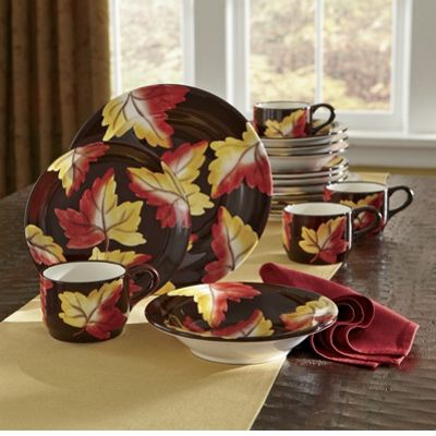 Dinnerware, 16-Piece Hand-Painted Fall Leaves Set