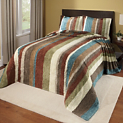 Striped Cotton Chenille Bedspread