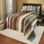 Striped Cotton Chenille Bedspread and Sham