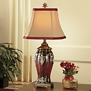 Dramatic Detail Burgundy Lamp