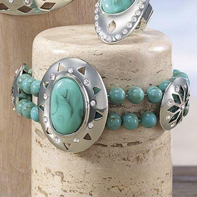Faux Turquoise/Medallion Bracelet