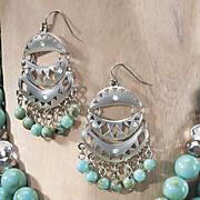 faux turquoise medallion earrings