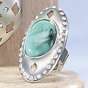 faux turquoise medallion stretch ring