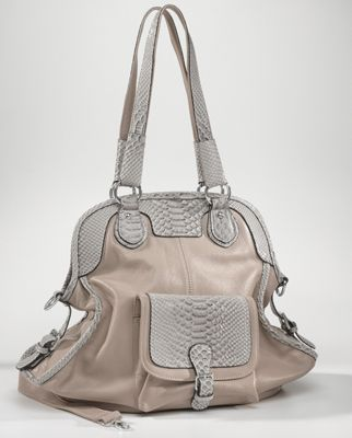 Reptile-Trim Leather Bag