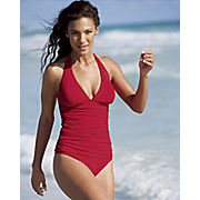 Ruched Halter Tankini Skirt Bottom and Brief