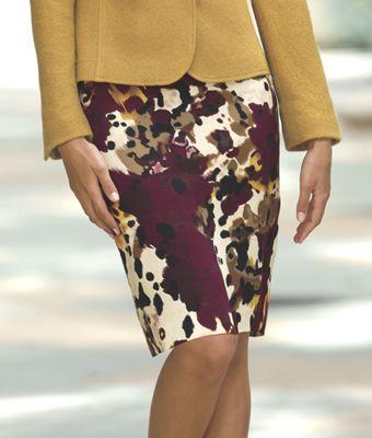 Smudge Floral Pencil Skirt