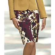 smudge floral pencil skirt