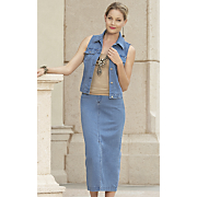 Denim Vest Skirt Set