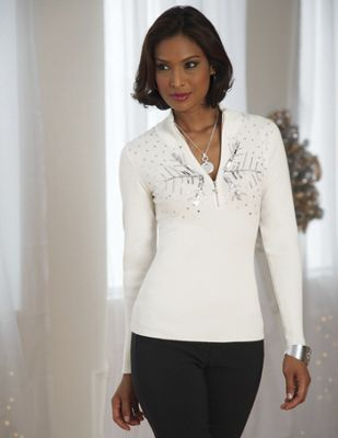 Snowflakes and Sequins Zip Sweater