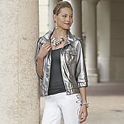 Faux Leather Metallic Jacket