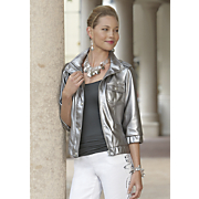 Faux Leather Metallic Jacket