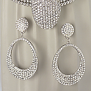 Crystal Pave Oval Earrings