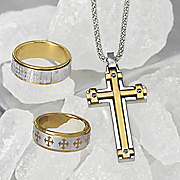 Stainless Steel Cross Necklace Lords Prayer Spinner Ring And Cross Ring