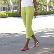 Stretch Button-Leg Capri