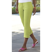 Stretch Button-Leg Capri