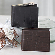 Crocodile Print Bi-fold Wallet by Stacy Adams