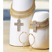 crystal cross necklace bracelet earrings