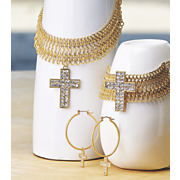 crystal cross necklace bracelet earrings