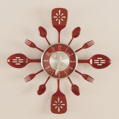 Red Utensil Clock