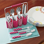 24 piece polka dot flatware with caddy