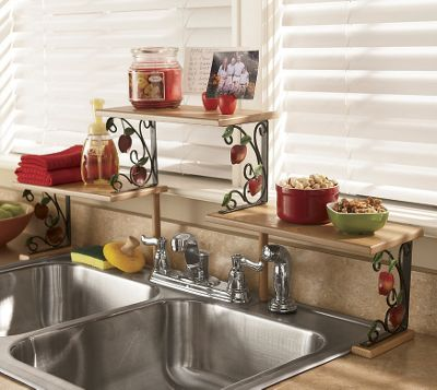 Apple over the sink shelf from through the country door for Apple kitchen ideas