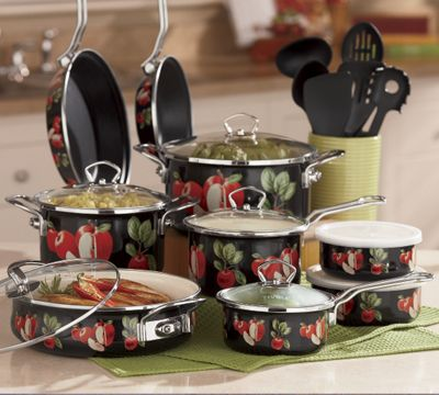 Ginny's Brand Midnight Apple Cookware Set