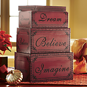 Set of 3 Red Message Crates